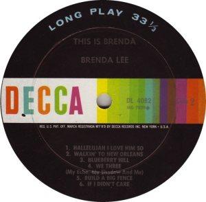 LEE, BRENDA DECCA LP 4082 D