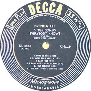 LEE, BRENDA DECCA LP 8873 C