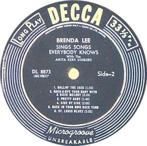 LEE, BRENDA DECCA LP 8873 D