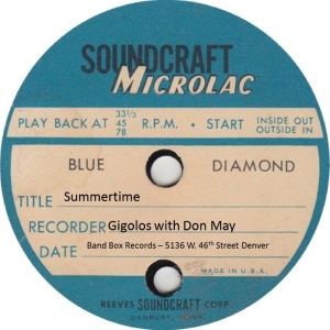 BAND BOX TP 01 B - MAY DON & GIGOLOS - SUMMERTIME
