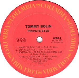 BOLIN TOMMY - PRIVATE EYES D
