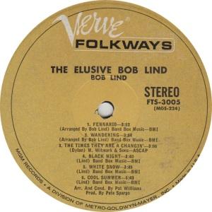 LIND BOB - VERVE FOLKWAYS LP A