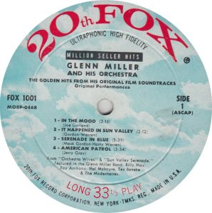 MILLER GLENN - 20TH FOX 1001 R