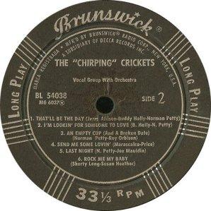 CRICKETS - 1957 D