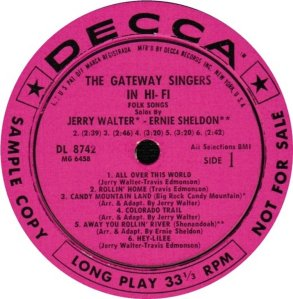 GATEWAY SINGERS 1958 C