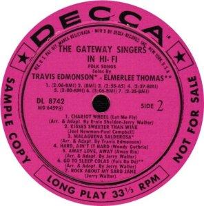 GATEWAY SINGERS 1958 D