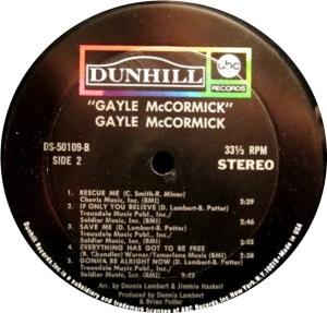 MCCORMICK GAYLE 1971 D