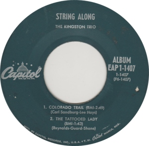 COLORADO T KINGSTON TRIO 1960