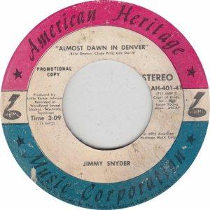 COLORADO T SNYDER JIMMY 1972 A