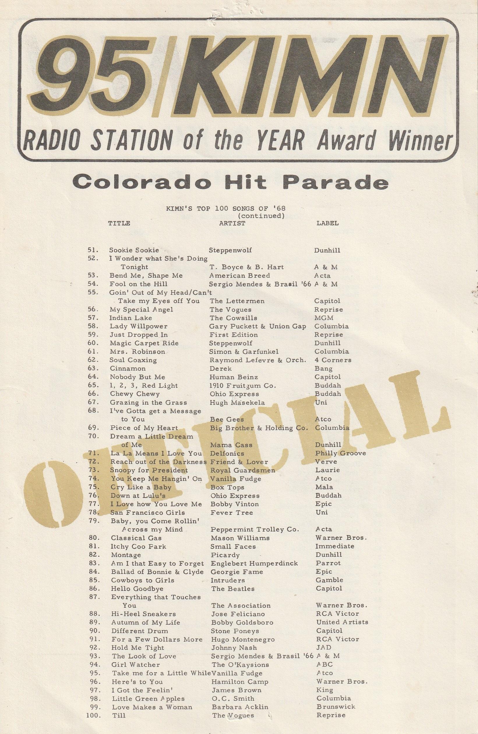 KIMN Radio Top Hits 1966 through 1970 Denver Colorado